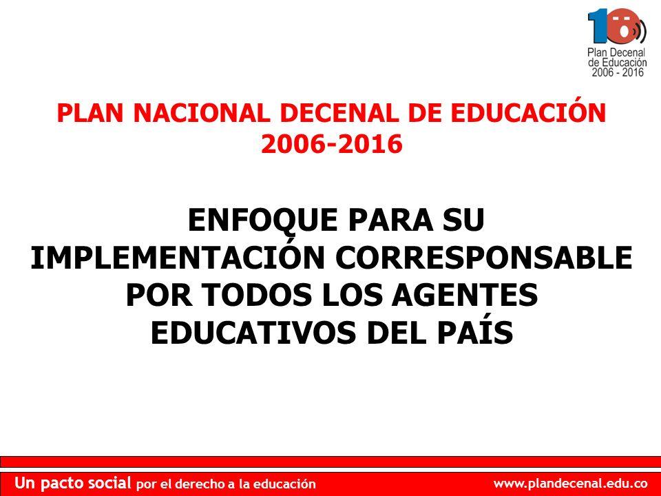 PLAN NACIONAL DECENAL DE EDUCACIÓN 2006-2016