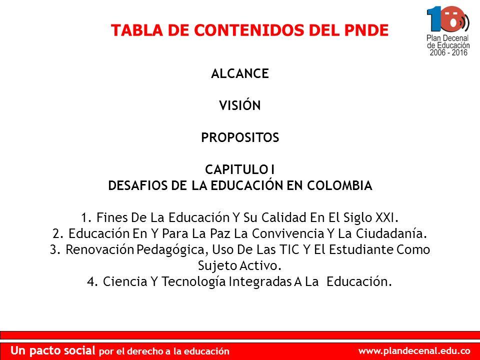TABLA DE CONTENIDOS DEL PNDE DESAFIOS DE LA EDUCACIÓN EN COLOMBIA