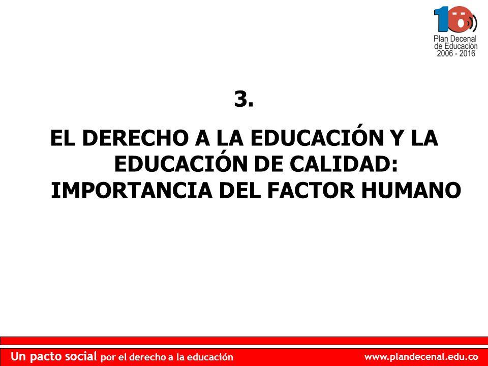 3. EL DERECHO A LA EDUCACIÓN Y LA EDUCACIÓN DE CALIDAD: IMPORTANCIA DEL FACTOR HUMANO