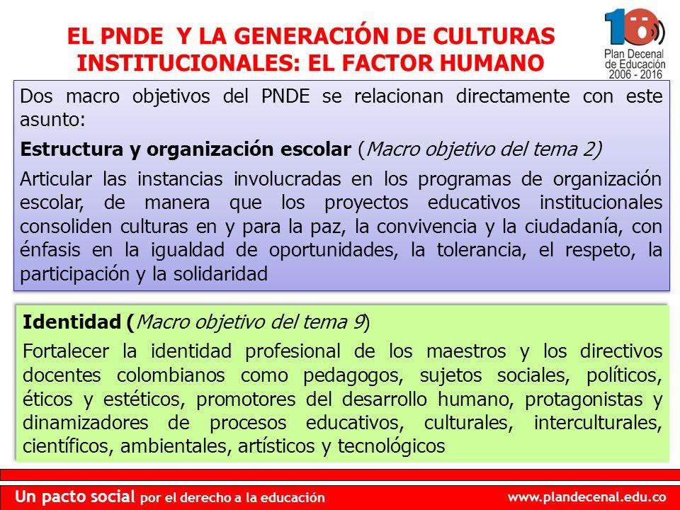EL PNDE Y LA GENERACIÓN DE CULTURAS INSTITUCIONALES: EL FACTOR HUMANO