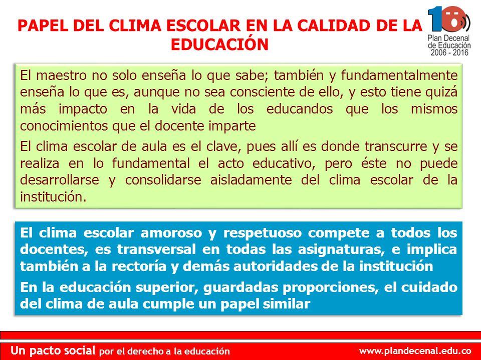 PAPEL DEL CLIMA ESCOLAR EN LA CALIDAD DE LA EDUCACIÓN