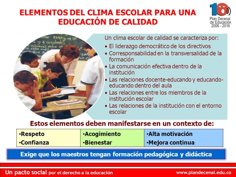 ELEMENTOS DEL CLIMA ESCOLAR PARA UNA EDUCACIÓN DE CALIDAD