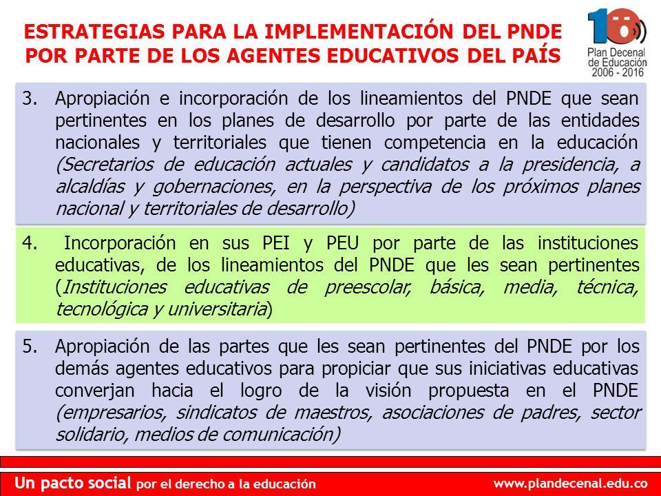 ESTRATEGIAS PARA LA IMPLEMENTACIÓN DEL PNDE POR PARTE DE LOS AGENTES EDUCATIVOS DEL PAÍS