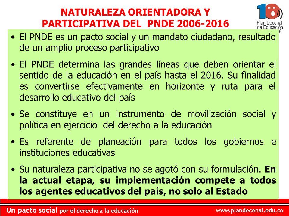 NATURALEZA ORIENTADORA Y PARTICIPATIVA DEL PNDE 2006-2016