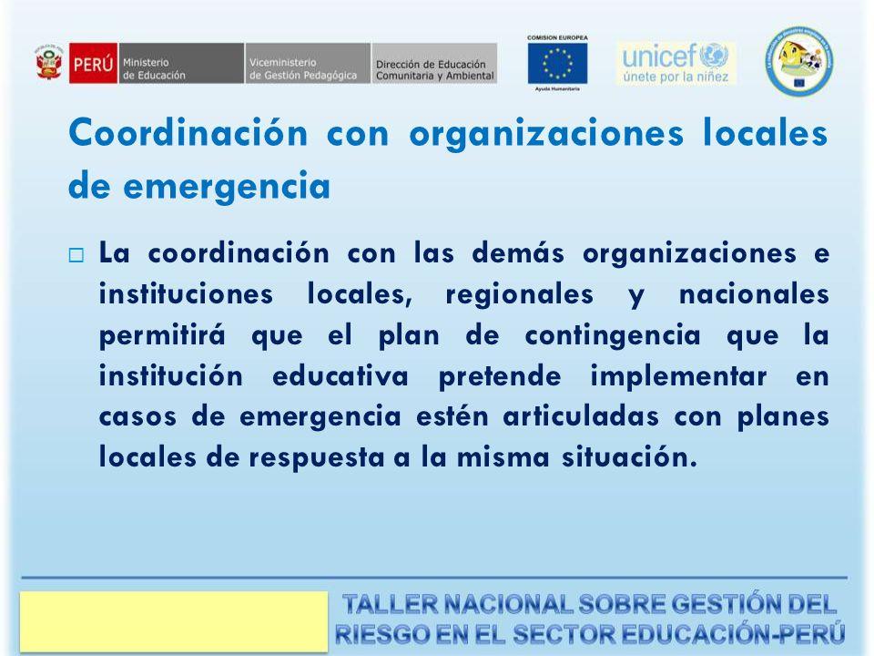 Coordinación con organizaciones locales de emergencia