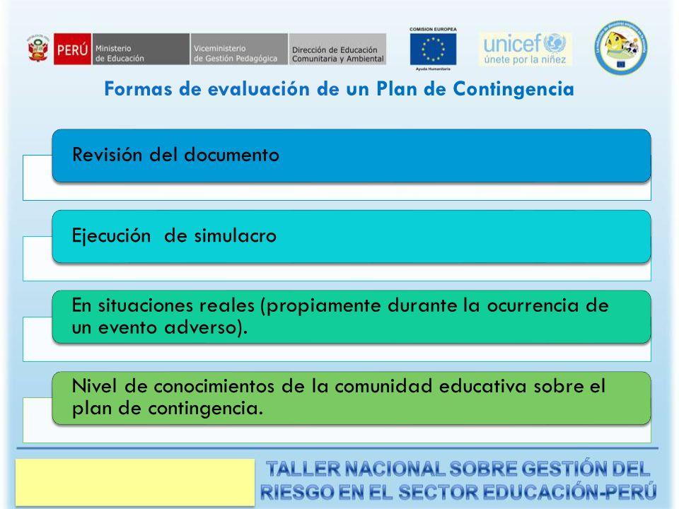 Formas de evaluación de un Plan de Contingencia
