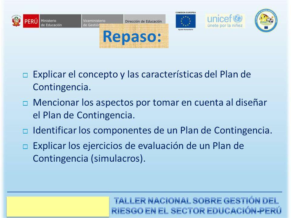 Manual del Instructor Repaso: Explicar el concepto y las características del Plan de Contingencia.