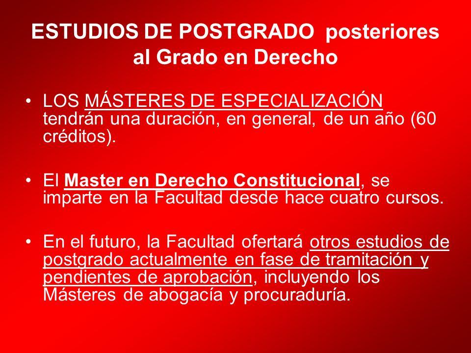 ESTUDIOS DE POSTGRADO posteriores al Grado en Derecho