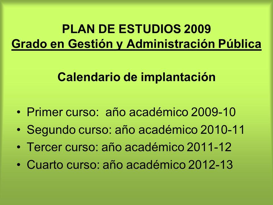 PLAN DE ESTUDIOS 2009 Grado en Gestión y Administración Pública
