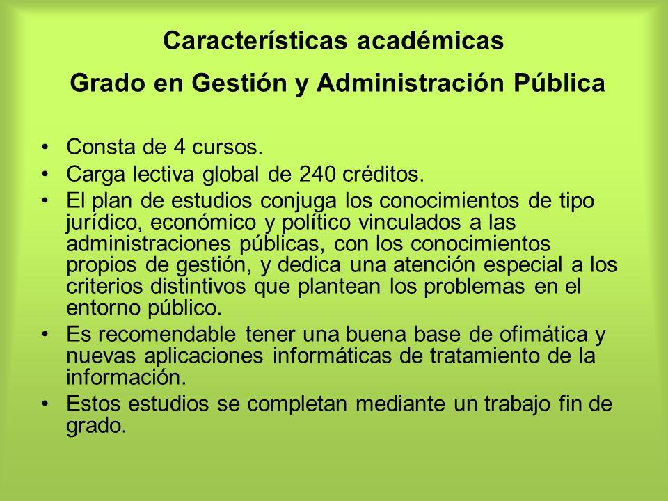 Características académicas Grado en Gestión y Administración Pública
