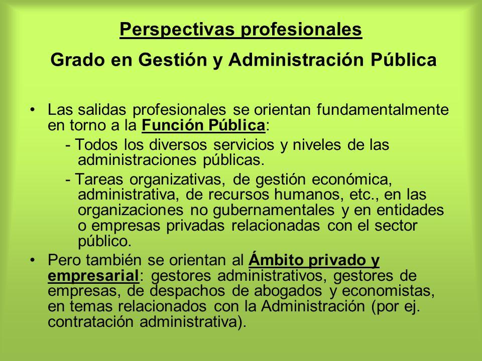 Perspectivas profesionales Grado en Gestión y Administración Pública