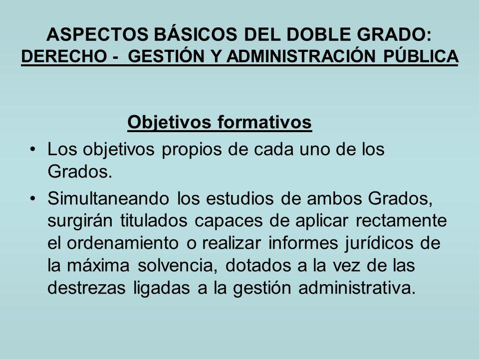 ASPECTOS BÁSICOS DEL DOBLE GRADO: DERECHO - GESTIÓN Y ADMINISTRACIÓN PÚBLICA