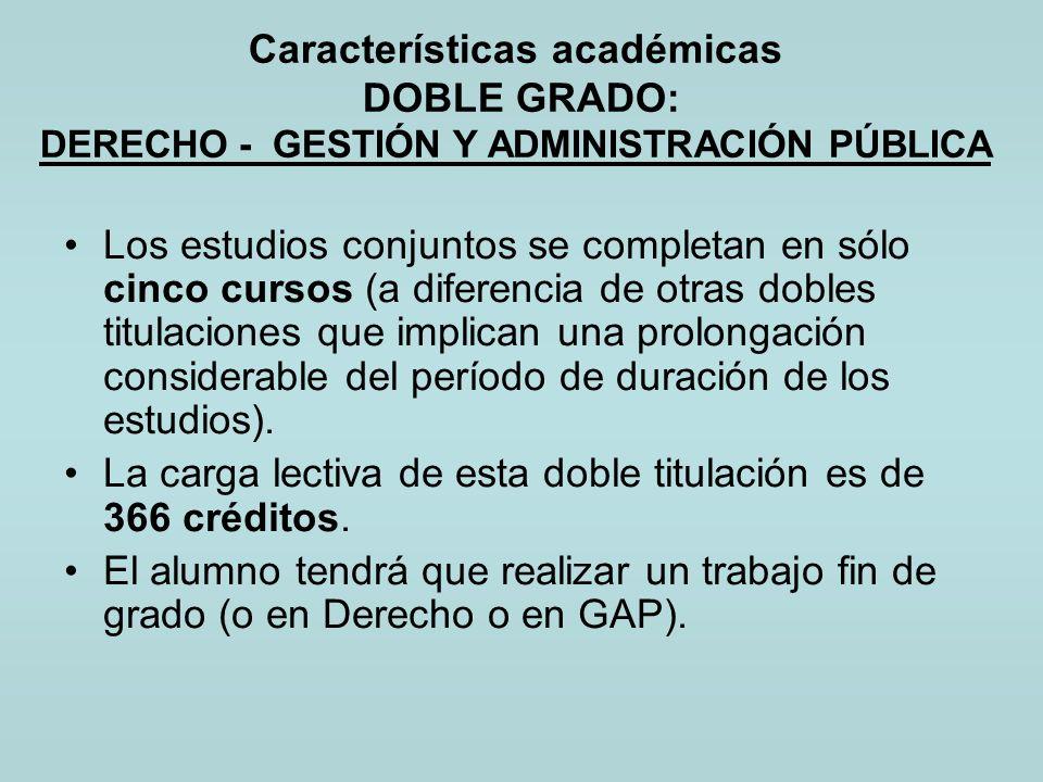 Características académicas DOBLE GRADO: DERECHO - GESTIÓN Y ADMINISTRACIÓN PÚBLICA