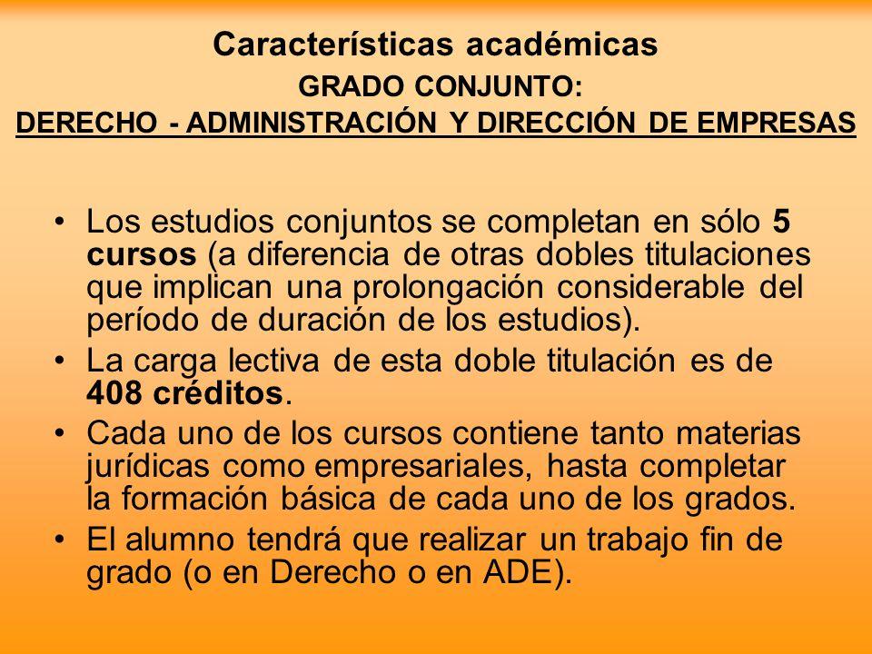 Características académicas GRADO CONJUNTO: DERECHO - ADMINISTRACIÓN Y DIRECCIÓN DE EMPRESAS