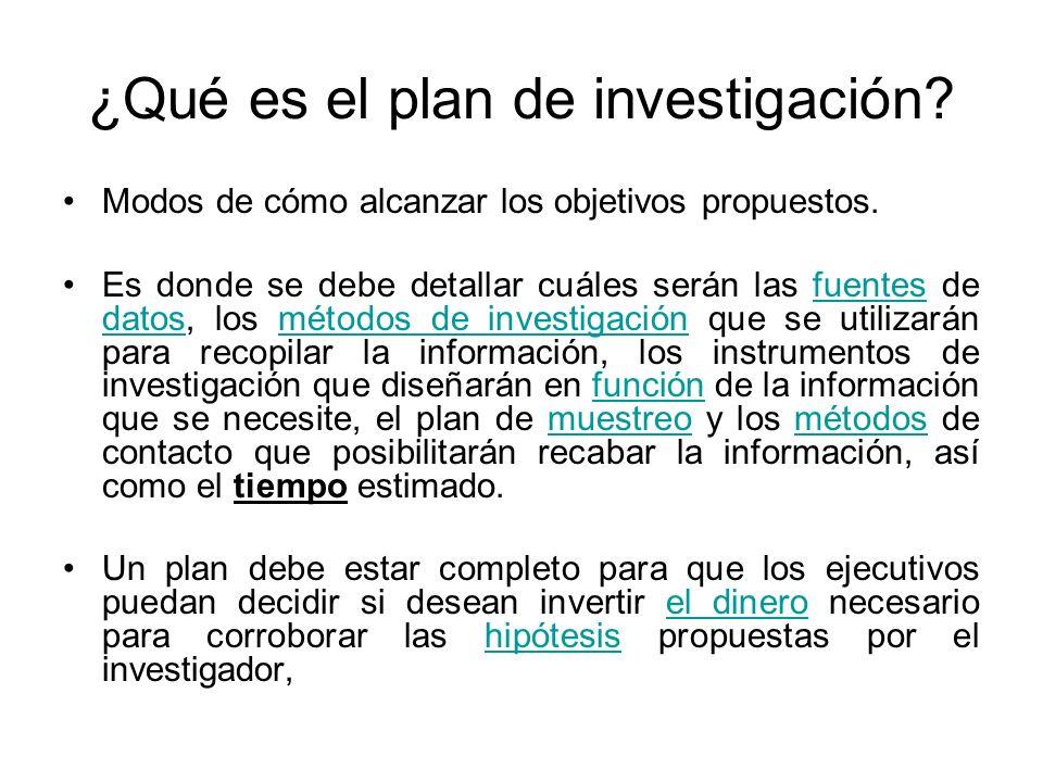 ¿Qué es el plan de investigación