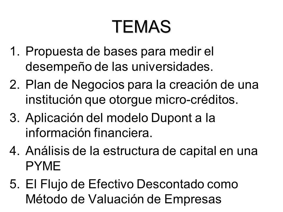 TEMAS Propuesta de bases para medir el desempeño de las universidades.
