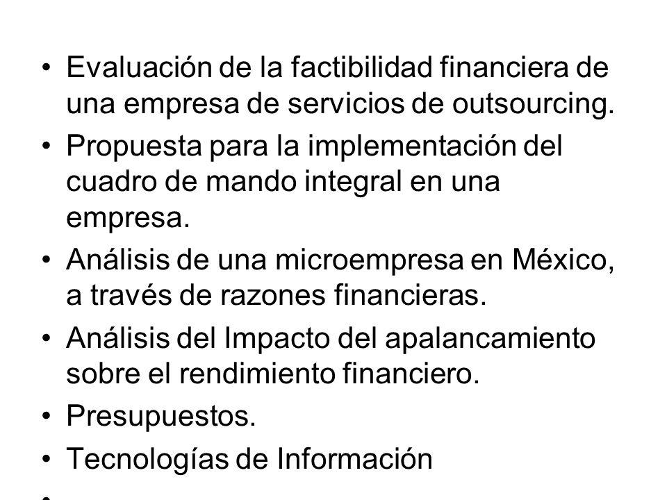 Evaluación de la factibilidad financiera de una empresa de servicios de outsourcing.