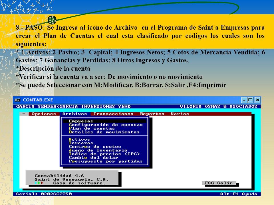 8.- PASO: Se Ingresa al icono de Archivo en el Programa de Saint a Empresas para crear el Plan de Cuentas el cual esta clasificado por códigos los cuales son los siguientes: