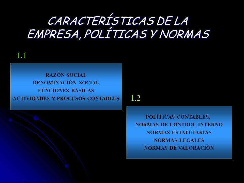 CARACTERÍSTICAS DE LA EMPRESA, POLÍTICAS Y NORMAS