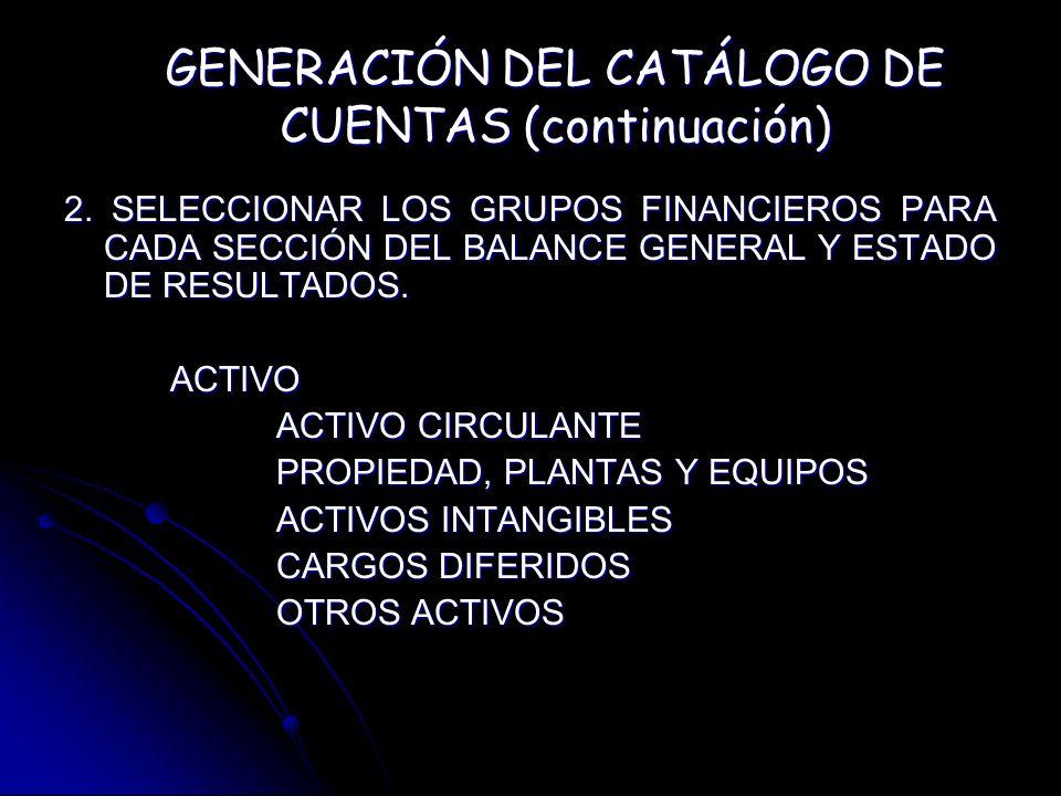 GENERACIÓN DEL CATÁLOGO DE CUENTAS (continuación)