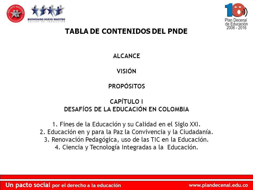 TABLA DE CONTENIDOS DEL PNDE DESAFÍOS DE LA EDUCACIÓN EN COLOMBIA