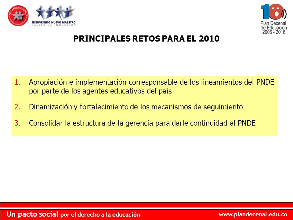 PRINCIPALES RETOS PARA EL 2010