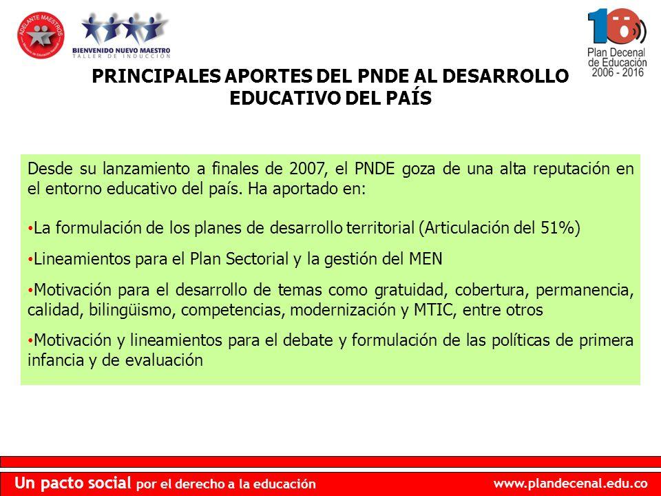PRINCIPALES APORTES DEL PNDE AL DESARROLLO EDUCATIVO DEL PAÍS