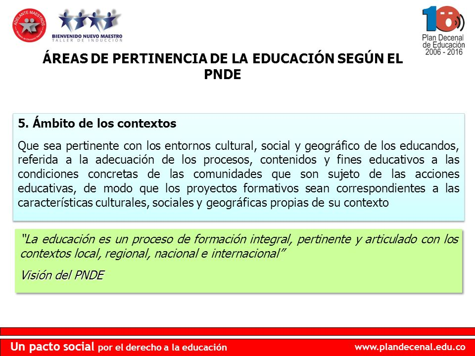 ÁREAS DE PERTINENCIA DE LA EDUCACIÓN SEGÚN EL PNDE