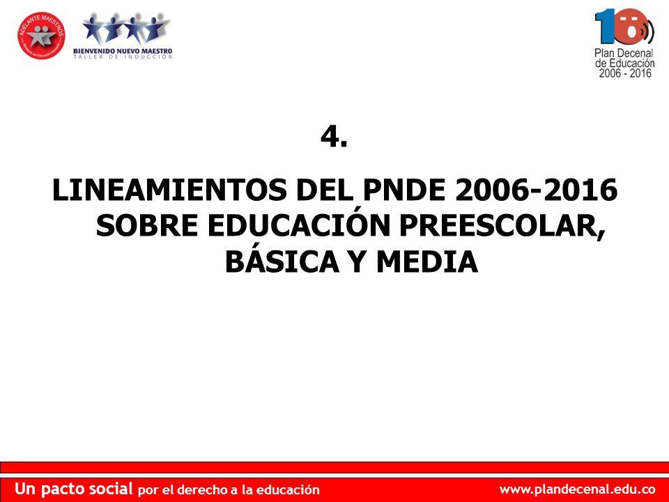 4. LINEAMIENTOS DEL PNDE 2006-2016 SOBRE EDUCACIÓN PREESCOLAR, BÁSICA Y MEDIA