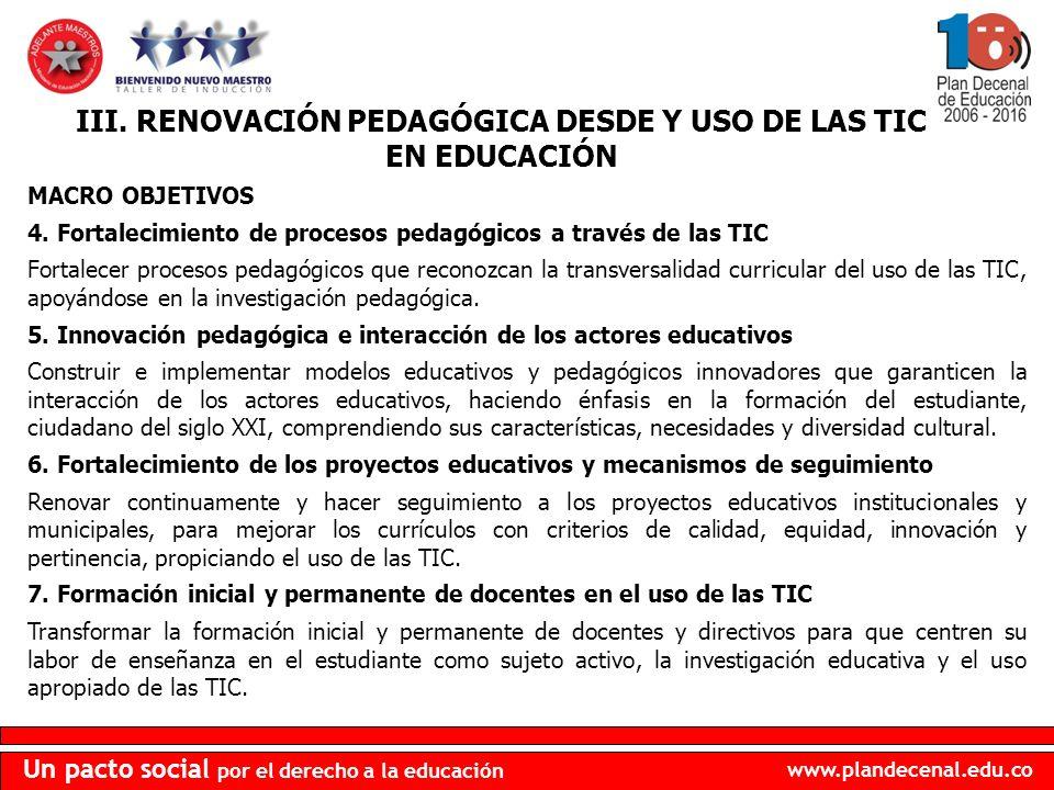 III. RENOVACIÓN PEDAGÓGICA DESDE Y USO DE LAS TIC EN EDUCACIÓN