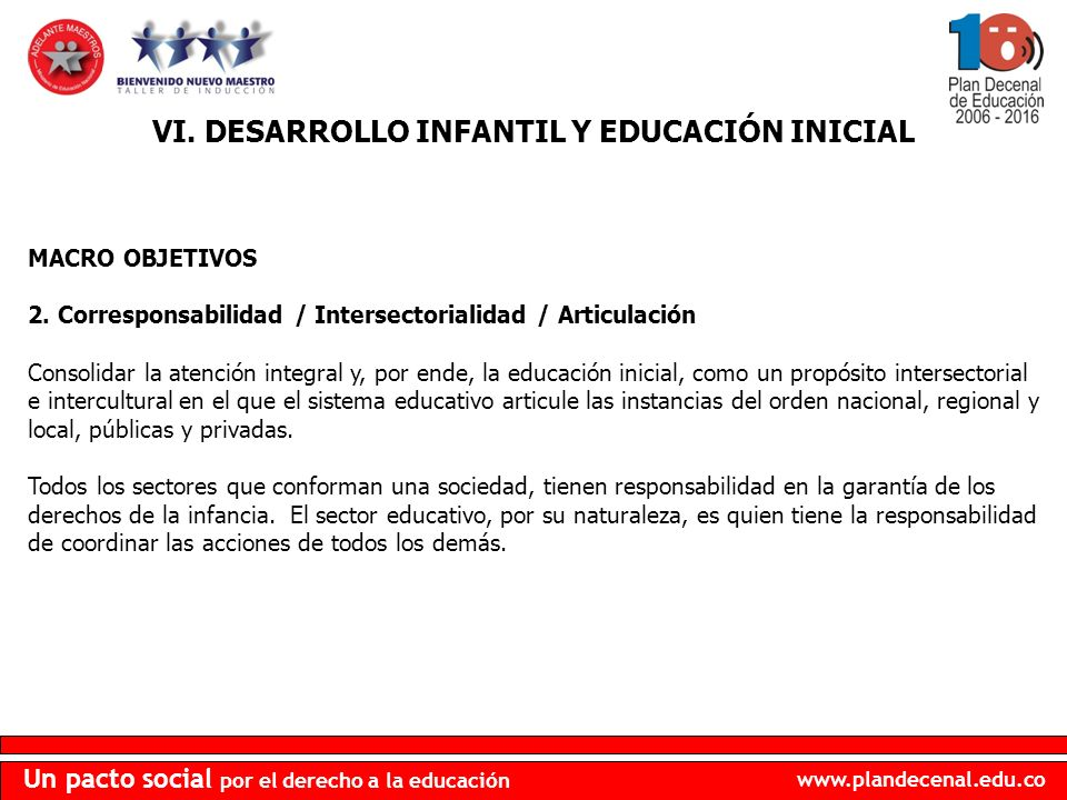 VI. DESARROLLO INFANTIL Y EDUCACIÓN INICIAL