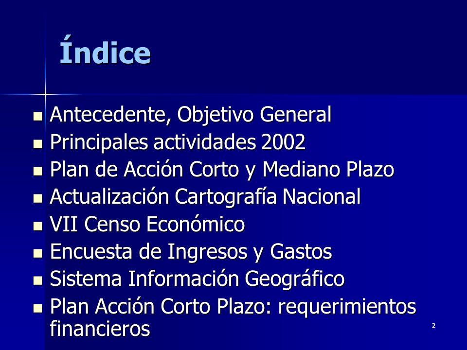 Índice Antecedente, Objetivo General Principales actividades 2002