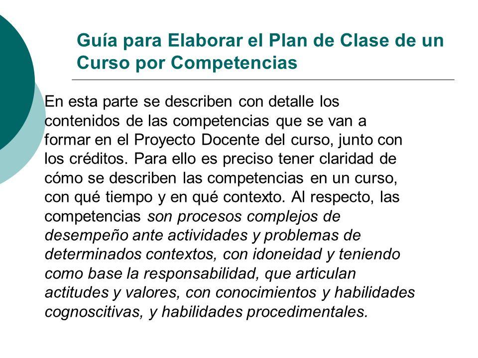 Guía para Elaborar el Plan de Clase de un Curso por Competencias