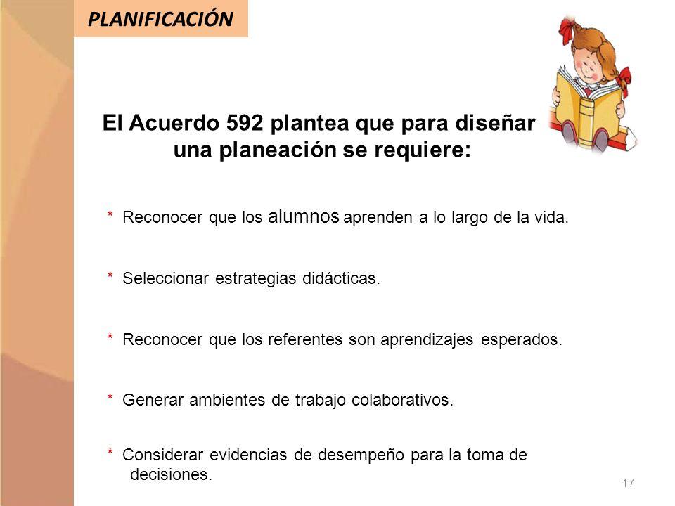 El Acuerdo 592 plantea que para diseñar una planeación se requiere:
