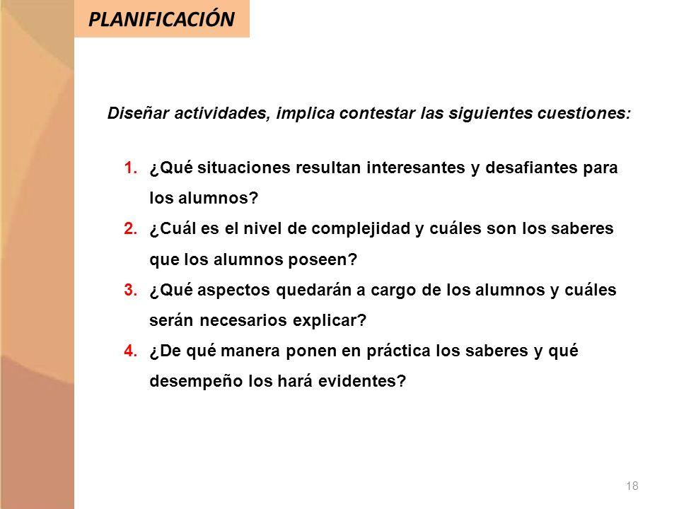 Diseñar actividades, implica contestar las siguientes cuestiones: