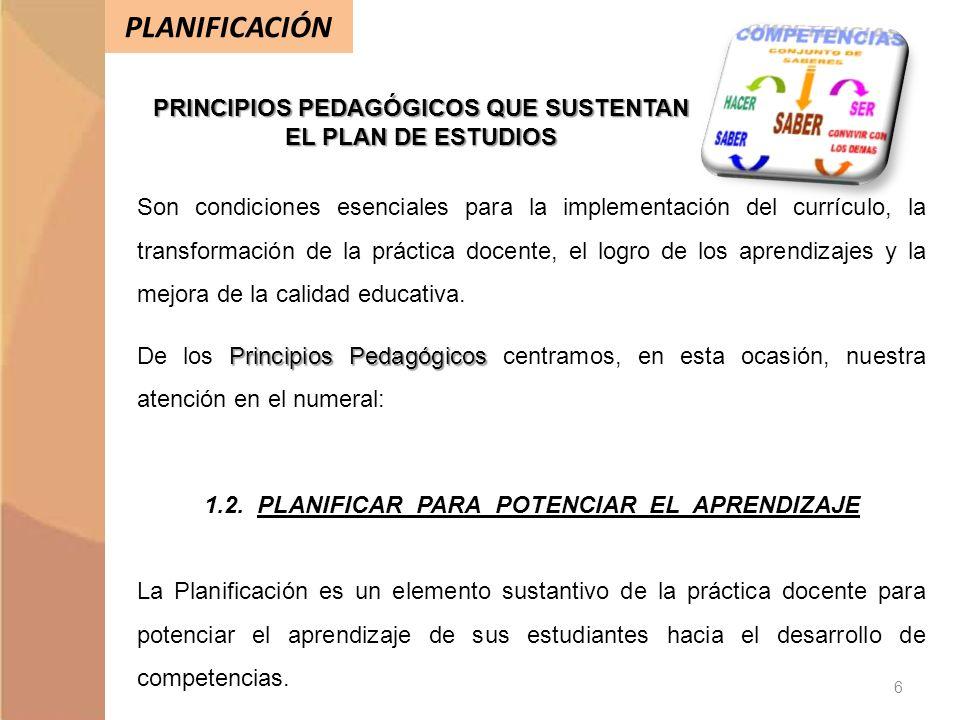 PLANIFICACIÓN PRINCIPIOS PEDAGÓGICOS QUE SUSTENTAN EL PLAN DE ESTUDIOS