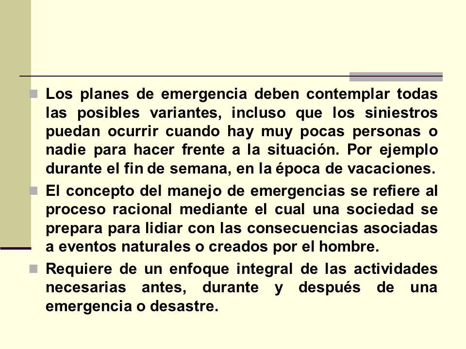 Los planes de emergencia deben contemplar todas las posibles variantes, incluso que los siniestros puedan ocurrir cuando hay muy pocas personas o nadie para hacer frente a la situación. Por ejemplo durante el fin de semana, en la época de vacaciones.