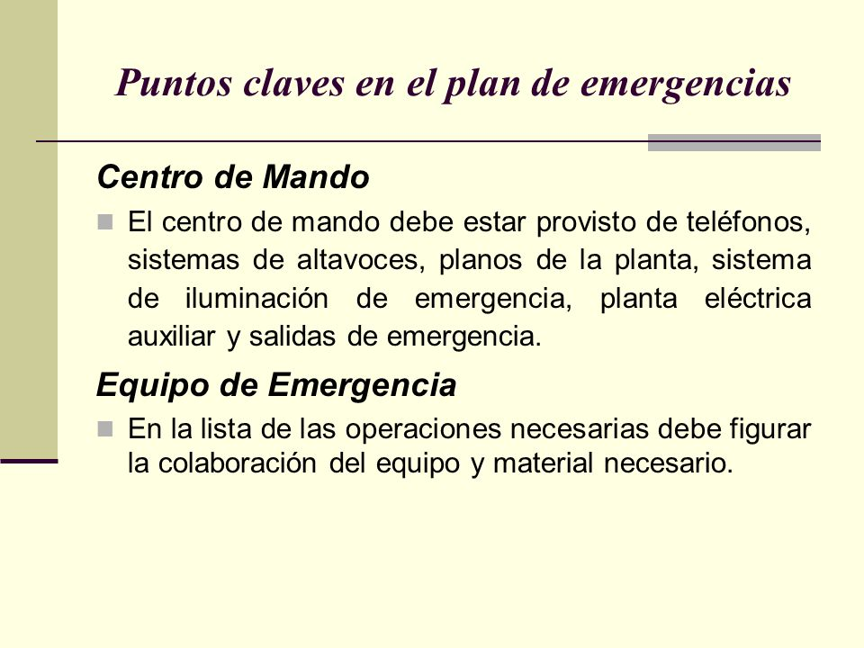 Puntos claves en el plan de emergencias