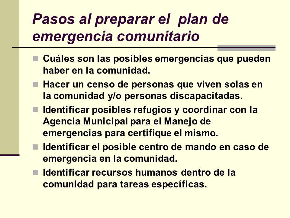 Pasos al preparar el plan de emergencia comunitario