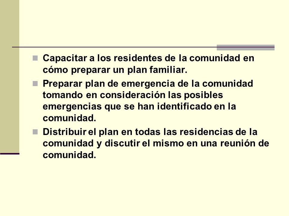 Capacitar a los residentes de la comunidad en cómo preparar un plan familiar.