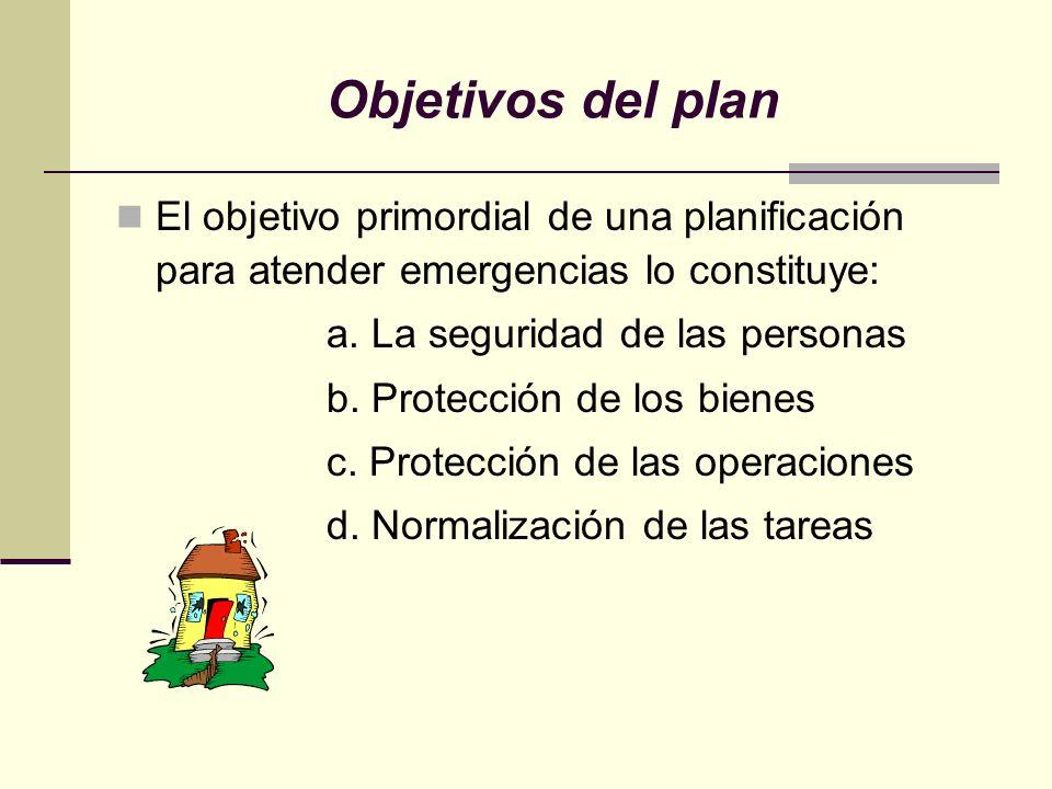 Objetivos del plan El objetivo primordial de una planificación para atender emergencias lo constituye: