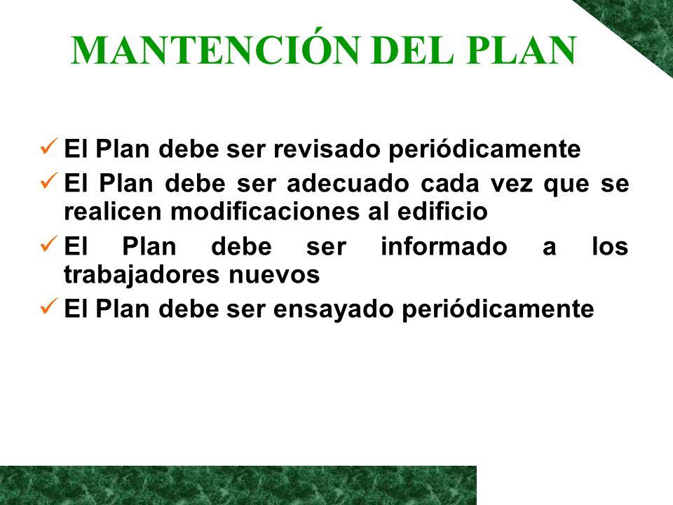 MANTENCIÓN DEL PLAN El Plan debe ser revisado periódicamente