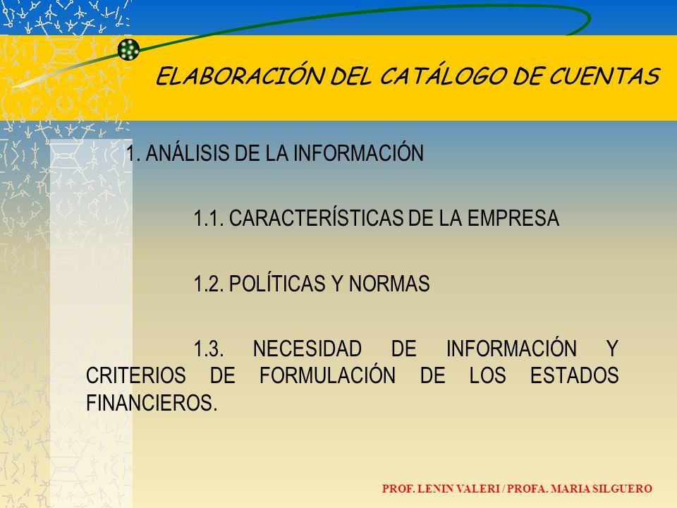 ELABORACIÓN DEL CATÁLOGO DE CUENTAS