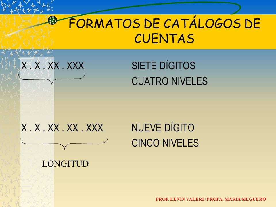 FORMATOS DE CATÁLOGOS DE CUENTAS
