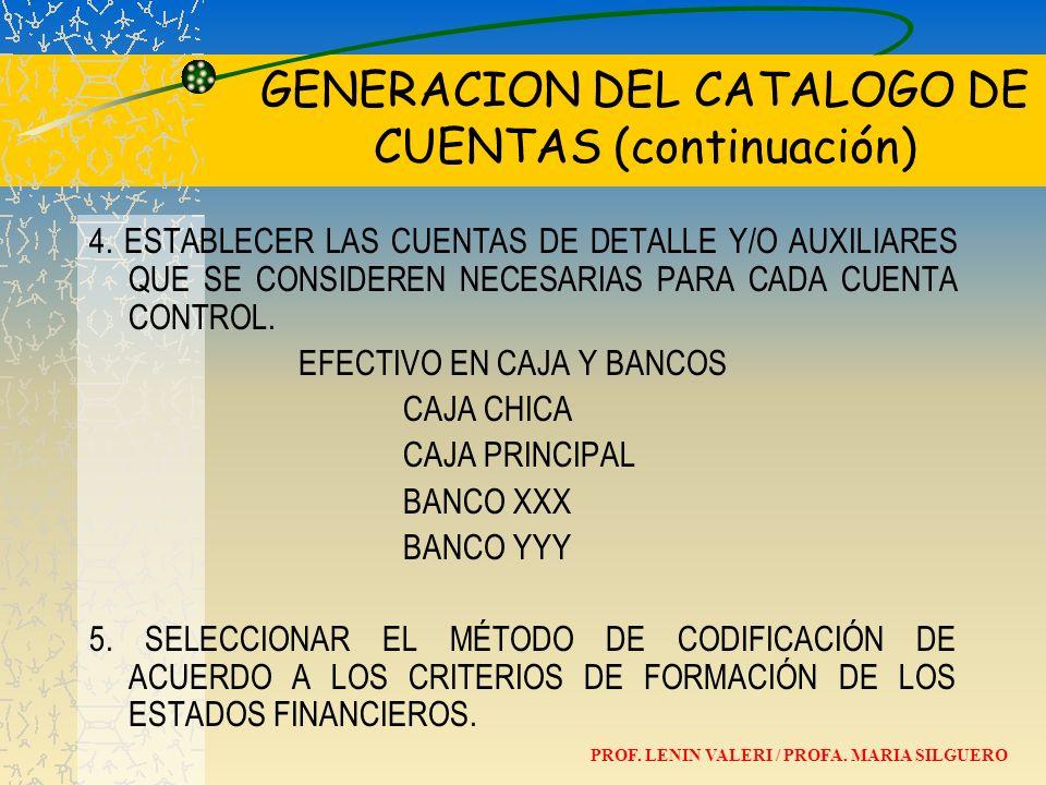 GENERACION DEL CATALOGO DE CUENTAS (continuación)