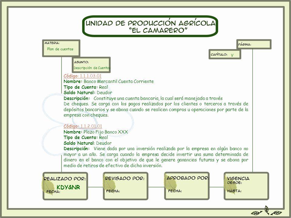 KDY&NR Código: 1.1.1.03.01 Nombre: Banco Mercantil Cuenta Corriente