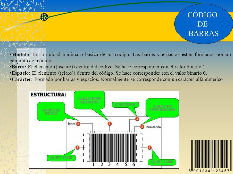 CÓDIGO DE. BARRAS. Módulo: Es la unidad mínima o básica de un código. Las barras y espacios están formados por un conjunto de módulos.