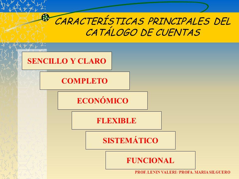 CARACTERÍSTICAS PRINCIPALES DEL CATÁLOGO DE CUENTAS
