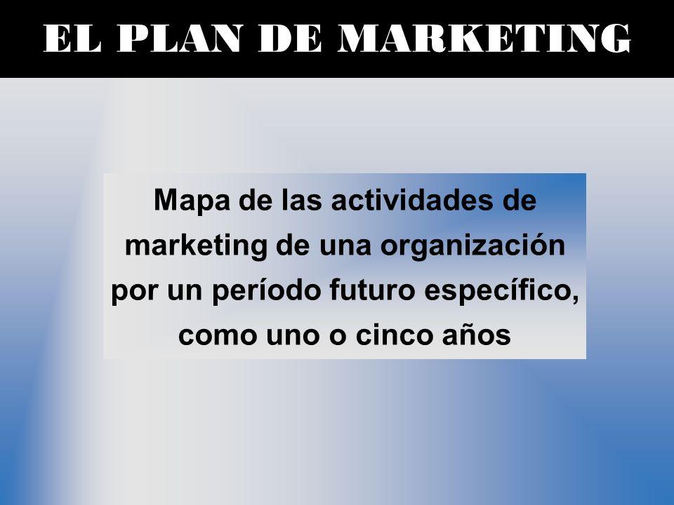 EL PLAN DE MARKETING Mapa de las actividades de marketing de una organización por un período futuro específico, como uno o cinco años.