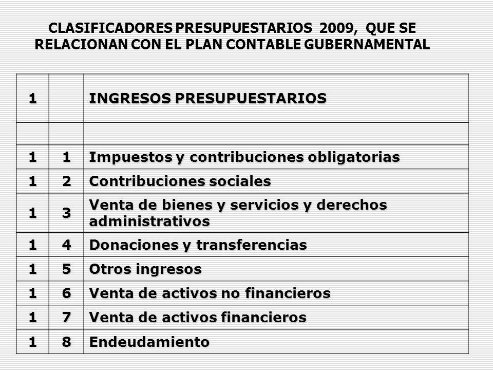 CLASIFICADORES PRESUPUESTARIOS 2009, QUE SE RELACIONAN CON EL PLAN CONTABLE GUBERNAMENTAL